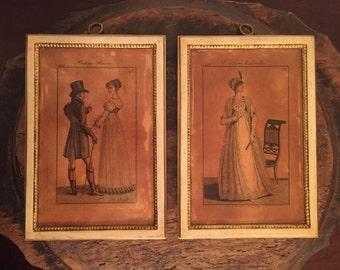 Vintage Borghese Chalkware Plaster Wall Plaques by F.L. Neubauer | Costume de Londres 1801 | Costume Parisien 1807