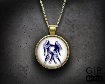 Gemini Necklace Zodiac Gemini Pendant Necklace Gemini Zodiac Necklace Jewelry Gemini Necklace Pendant Jewelry Zodiac Gemini Pendant Necklace