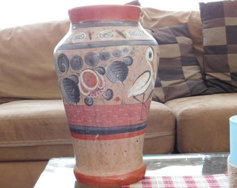 Hand Painted Mexico Vase - Pottery - Clay - Vintage Mexican Folk Art with Birds