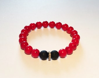 Red coral & REAL DIAMOND male bracelet