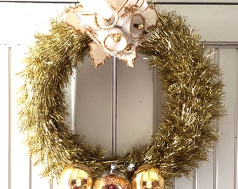 Petite Gold & Cream Vintage Christmas Ornament Wreath