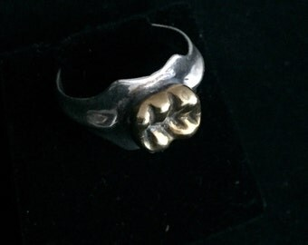 Human Tooth Ring in Sterling Silver with 14K gold plated tooth