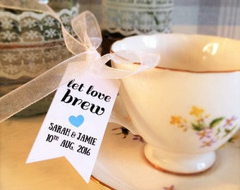 Let Love Brew - 35x Wedding Bridal Shower Personalized Favour Tags