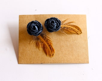 Paper Flower and Feather Earrings