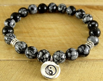 Yin Yang charm Obsidian Jewelry Black Yoga Bracelet Yoga charm Yin Yang Bracelet Snowflake Obsidian Mens Yoga Bracelet Yoga Jewelry Balance