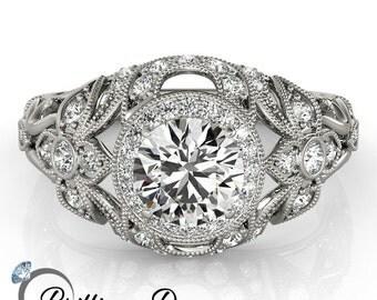 Antique Moissanite Ring White Gold, Unique Engagement Ring