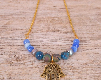 Necklace gold/blue/stone natural hand of chance