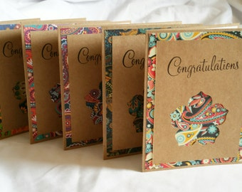 Paisley Kraft Congratulations Card (Blank Inside), Set of 5