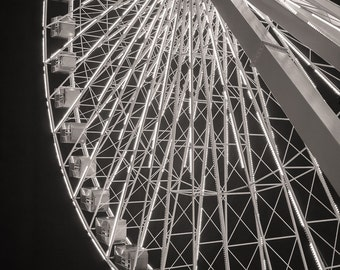 Chicago Photography, Navy Pier Ferris Wheel, Chicago Print, Black and White Photography, Large Art Print, Urban Art, Fine Art Photography