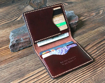 Mens gift Card holder Groomsmen gift Anniversary gift Personalized gift for him gift for father Leather wallet slim mens wallet Card wallet