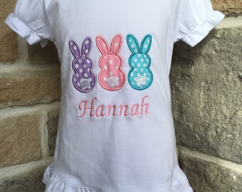 Girls Easter bunny personalized ruffle shirt.  Bunny trio.