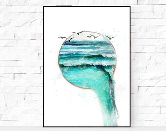 SALE - 50% Ocean Waves wall art, Original Digital Art Ocean Waves. Large poster 8x10-24x36inc. Ocean original painting, Creative wall art