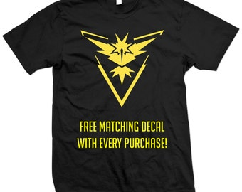 Pokemon Go Team Instinct T-Shirt - Pokémon Go - Zapdos - Yellow Team - Free Matching Decal With Every Purchase!