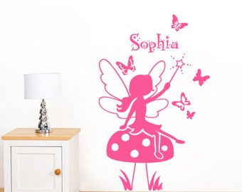 Personalised Enchanted Fairy, Toadstool & Butterfly Girl's Name Wall Sticker - Children's Art Vinyl Decal Transfer - by Rubybloom Designs