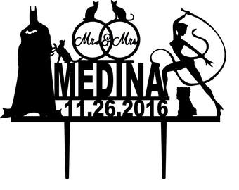 Wedding Cake Topper -Batman cake topper - Catwoman Wedding cake topper - Wedding Cake Topper superhero -  Topper for Wedding