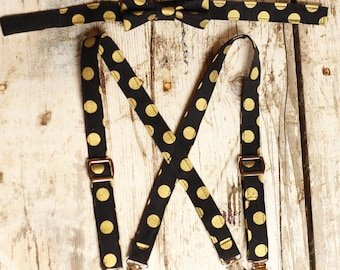 Bowtie and Suspenders Set, Bowtie and Suspender, Smash cake Outfit, Boy Birthday Outfit, Black & Gold Polka Dot