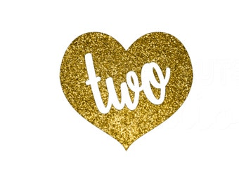 Birthday Girl Heart in Gold Glitter Personalized with Age One Two Three Four... Iron On Decal Glitter Iron Vinyl Decal for shirt
