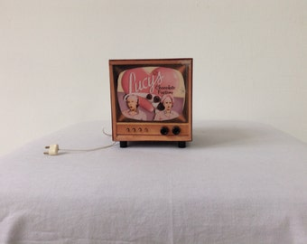 miniature television   scale  1:6  Lucy and Ethel, Handmade, Vintage look,design