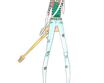 Favorite Things Bass Guitar Yerba Mate Custom Portrait Fashion Illustration Print