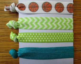 FOE Hair Ties, Elastic Hair Ties, No Crease Hair Ties, Basketball Hair Tie, Sport Hair Ties