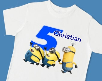 Minions Birthday Tee. Personalized Birthday T-Shirt. Personalized with Name, Age or Number. 1st 2nd 3rd 4th 5th 6th Birthday. (15055)