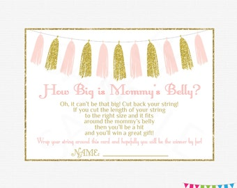 Pink and Gold Baby Shower Games, How Big is Mommys Belly, Girl Baby Shower Printables Activity, Instant Download, Gold Glitter Tassels TASPG