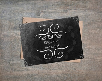 Save The Date - Chalkboard - Simple - Instant Download - Print At Home - DIY - 1