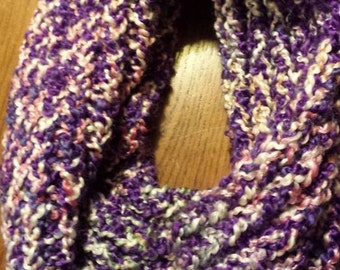 Purple and white cowl scarf