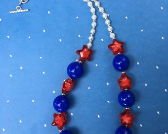 Patriotic Fourth of July Stars bubblegum necklace - red, white, and blue