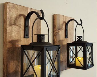 Rustic Wall Sconces For Bedroom : Rustic turquoise lantern pair 2 wall decor bedroom wall