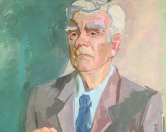 Vintage gouache painting man portrait