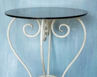 Round coffee table Small glass coffee table Hand forged table