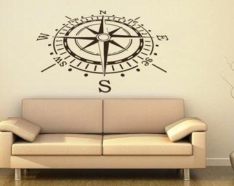 Compass Wall Decal Compass Rose Nautical Vinyl Sticker Navigation Home Interior Design Art Wall Murals Bedroom Decor C81