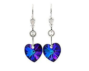 SWAROVSKI Mini Heart Sterling Silver Earrings in Heliotrope Purples
