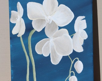 Ivory Orchids on Navy Blue: Original Acrylic Painting on Stretched Canvas, 5x7 inches
