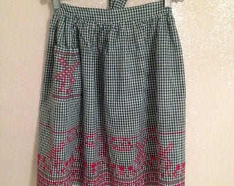 Adorable Vintage Green Gingham Checked Half Apron with Red Cross Stich Dutch Windmills and Tulips