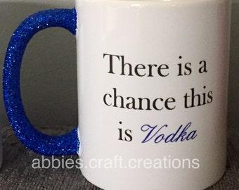 Glitter handle printed mugs