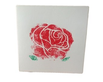 Hand Block Printed Red Rose Flower Blank Birthday Thank you Celebration Party Greetings Card
