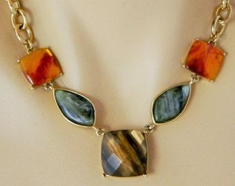 Vintage LC Liz Claiborne Choker Necklace Faceted Stones Adjustable Gold Tone
