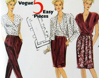 Vintage 90s Vogue 5 Easy Pieces Sewing Pattern 2446 Skirt Jacket Pants Wrap Top Tall Size 20-22-24 Retro Uncut