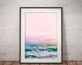 Beach Print, Coastal Photo Wall Art, Ocean Print, Coastal Beach Nautical Decor, pink turquoise blue, Beach House Decor, Water Photography