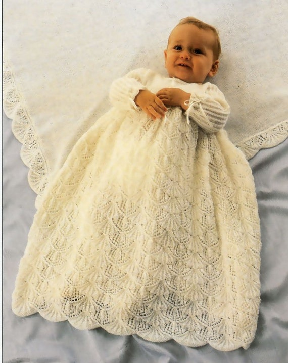 Vintage Pattern Baby Knitted Christening Dress and Shawl PDF
