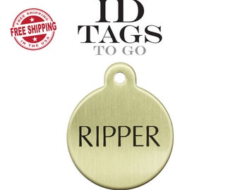ID Tags for Horses, Dogs, Halters. Large Pet ID Tag Solid Brass Engraved Circle Pet Tag