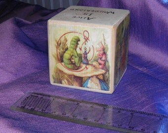 Alice in wonderland cube. Wooden cube. Collectible. Story telling.