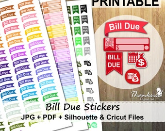 50% OFF SALE, Bill Due Printable Planner Stickers, Erin Condren Planner Stickers, Bill Due Stickers, Printable Stickers, Bill Due - Cut File