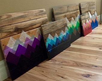Reclaimed Wood Wall Art - Mountain Landscape (small)