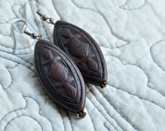 vintage ethnic wooden dangle earrings totem native