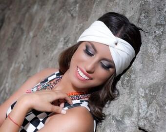 White Turban Headband, Turban Headwrap, White Headband, Workout Headband, Yoga Headbands, Turban Head Wraps, White Hair Band, Turban Women