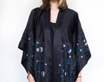 Anna Sui Embroidered Black Kimono