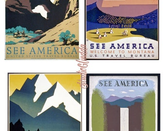 WPA Posters ART DECO 1930s Travel Promotion, Vintage American Landscapes, 4 Prints, National Parks, Nature, Collage, Scrapbook, Cards...